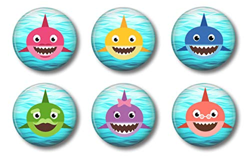 BABY SHARK MAGNETS - Set of 6 - Cute Whiteboard Magnets For Home School or Office (Set - Shark Magnet