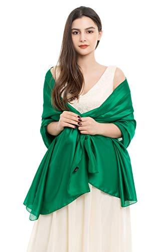 Hat Scarf Wrap - REEMONDE Womens Luxurious Soft Satin Chiffon Bridal Scarf Shawl Wraps Pashmina for Evening Party (Dark Green Satin)