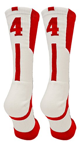 (TCK Player Id Red/White Number Crew Socks (#44, Small))