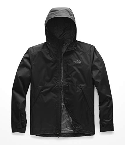 The North Face Mens Millerton Jacket, Black/Asphalt Grey Linear Topo Print - L