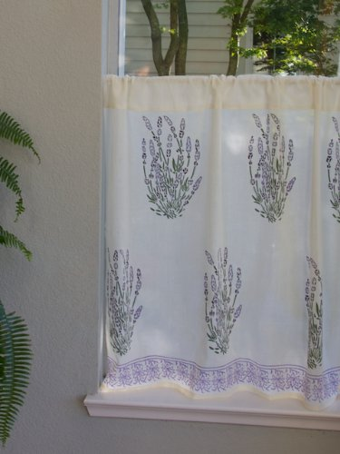 Lavender Dreams ~ Country Cottage Creamy white Kitchen Curtain 46x24