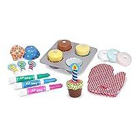 """Melissa & Doug Bake & Decorate Cupcake Set (Juego de imaginación, Juego de alimentos de juego de madera de colores, Materiales, 22 piezas, 13 """"Alt. X 10.4"""" An. X 3 """"L)"""