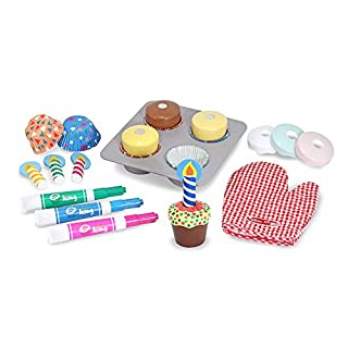 """Melissa & Doug Bake & Decorate Cupcake Set (Pretend Play, Colorful Wooden Play-Food Set, Materials, 25 Pieces, 13"""" H x 10.4"""" W x 3"""" L)"""