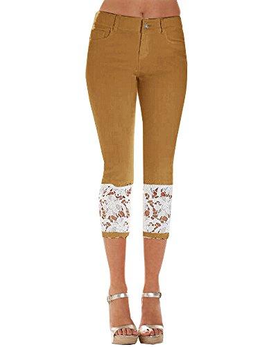 Denim ShallGood Fit Pantalones para Vaquero Skinny De Elástica Capr Slim Alta Sexy Leggings Mujer Cintura Encaje Marrón Jeans qYwq6r1Ux