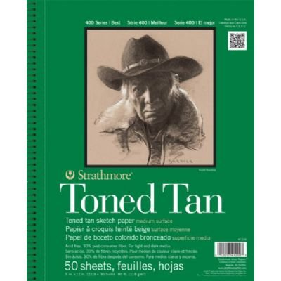 """3 Pack 9"""" x 12"""" Toned Tan Wire Bound Sketch Pad (Product Catalog: Paper Media, Canvas & Surfaces)"""