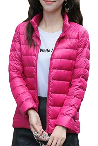 Zipper Energy Stand Plus Leisure Womens Size Down Red Rose Mini Lightweight Coat Collar TqFTSBHw
