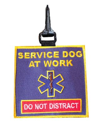 Star of Life Service Dog Snap On Patch - (Raspberry Tag)