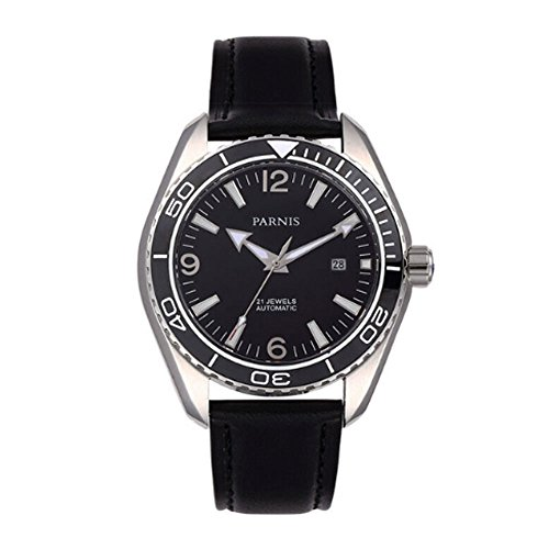 45mm Parnis Black dial Silver case Ceramic Sapphire 21 Jewels Miyota Automatic Movement Men's Watch ()