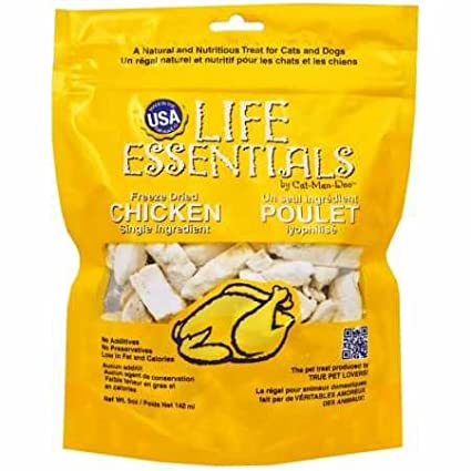 CAT-MAN-DOO Life Essentials Freeze Dried Chicken Cubes Cats Dogs Treats Food 5oz 890508