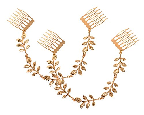 yueton 2pcs Fashion Ladies Athena Olive Branch Tassel Leaf Chain Clips Barrettes Bobby Pin Hair Clips Bride Headwear Edge Clip Clamps Cuff Boho Headbands (Tassel Leaf)