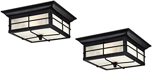 Outdoor Light Fixture Ceiling 2 - Orwell 2 Light Outdoor Flush Mount Fixture, Textured Black (2 Pack)