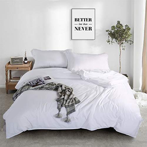 FAIRYLAND 3pc Bedding Duvet Cover Set, Ultra Soft Washed Cotton, Comforter Cover with Zipper Closure and Corner Ties and 2 Pillow Shams, King (102″ 90″), White.