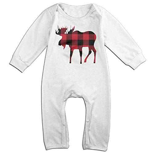 (Baby Infant Romper Buffalo Plaid Moose Lumberjack Red Black Long Sleeve Bodysuit Outfits Clothes)