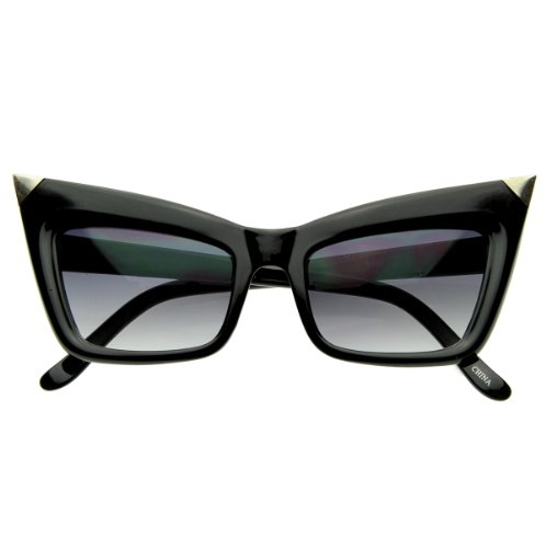 zeroUV - Super Cateye NYC Designer Inspired Fashion Cat Eye Sharp High-Pointed Sunglasses (Black - Cat Gold Eye