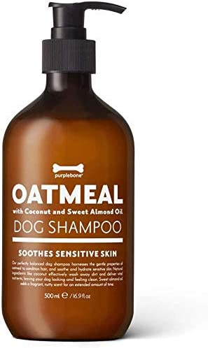Purplebone Oatmeal Dog Shampoo, 500ml Concentrate | For Cleaning Dirty Coats | Soothes Itchy, Sensitive Skin & Reduces Irritation | With Coconut & Sweet Almond Oil | Natural Dog Grooming Products