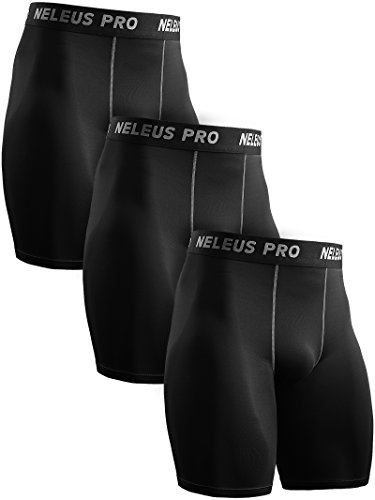 Neleus Men's 3 Pack Compression Shorts Athletic Sport Underwear,6034,Black,US L,EU XL