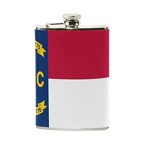 North Carolina State Flag Leather Stainless Steel Alcohol Whiskey Liquor Wine Pot Flagon Hip Flask Portable Pocket Bottle - 8 (North Carolina Wine)