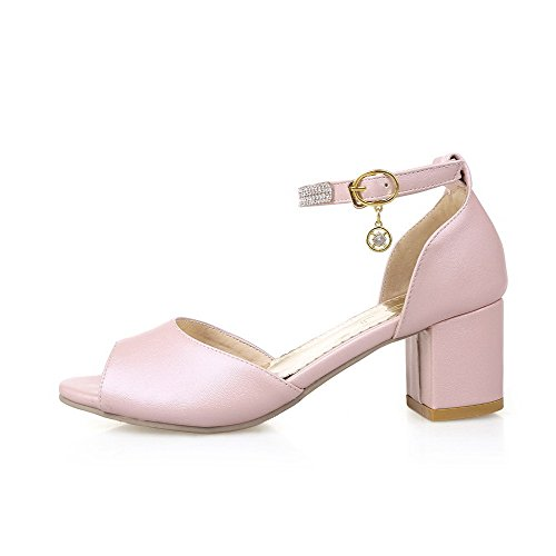 Sandali Open Toe Fibbia Open Toe In Ametista Con Zeppa Color Rosa