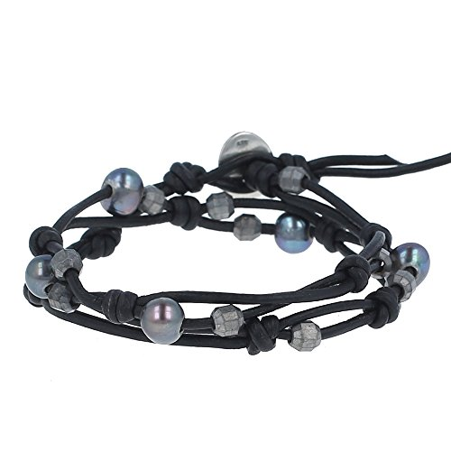 - Chan Luu Peacock Blue Pearl Double Strand Bracelet on Black Leather, NWT