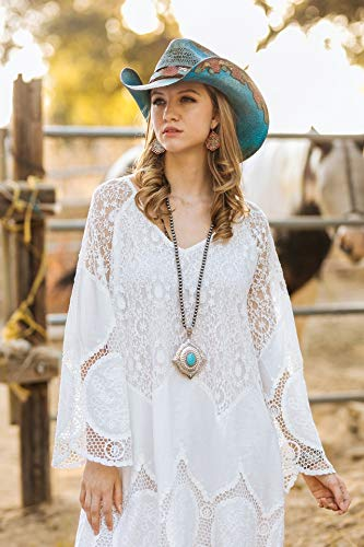 Stampede Hats Women's Love Story Rose Straw Western Hat M Blue by Stampede Hats (Image #6)