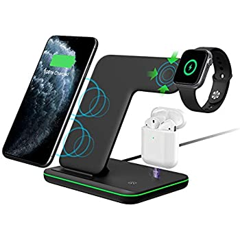 Intoval Wireless Charger,Wireless Charging Stand for Apple Watch Series 5 4 3 2 1/Airpods,Qi Fast Wireless Charging Station for iPhone 11/11 Pro/XS ...