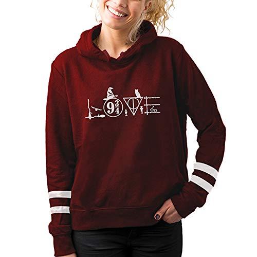 Aganmi Love Nine Three Quarters Hoodie for Womens, Burgundy Sweatshirt for Girls, Retro Striped Hoody Wine red XL