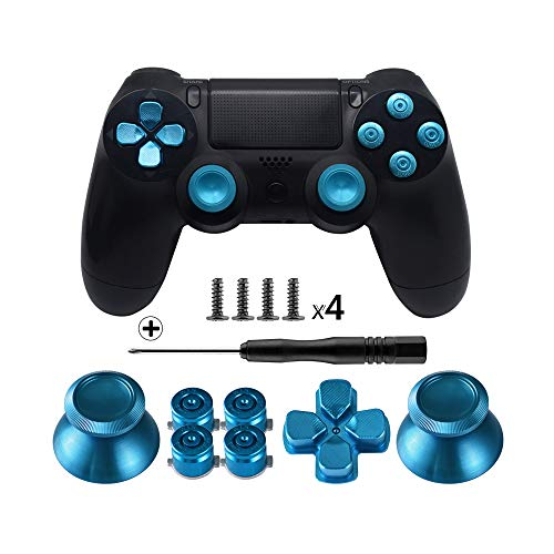 TOMSIN Metal Buttons for DualShock 4, Aluminum Metal Thumbsticks Analog Grip & Bullet Buttons & D-pad for PS4 Controller (Blue) ()