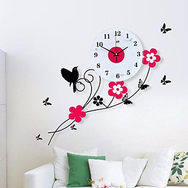 Pastoral Birds Flowers Mute Quartz Bedroom Child Watch Large Wall Clock Horloge Murale Reloj de Pared