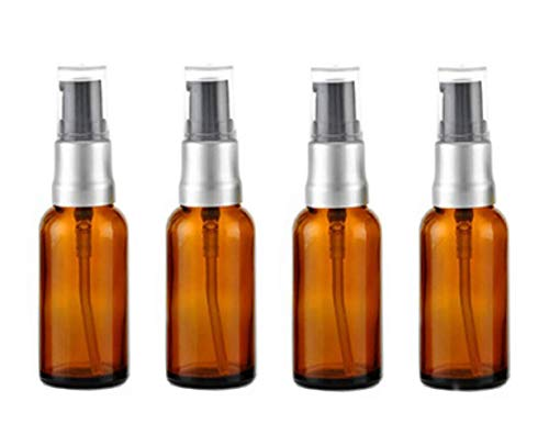 mpty Glass Bottles Amber Glass Lotion Pump Bottle Jars Makeup Face Cream Facial Cleanser Toiletries Toner Liquid Travel Containers Emulsion Essential Oil Dispenser ()