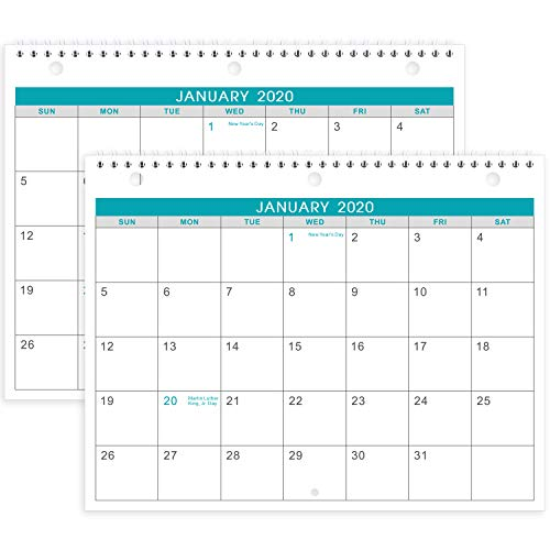 2020 Calendar - 2 Pack Monthly Wall/Desk Calendar, Generous Memo Lined Pages with A4 Premium Thick Paper, January 2020 - December 2020, Bonus 2020 Yearly Planning, 8.5 x 11 Inches