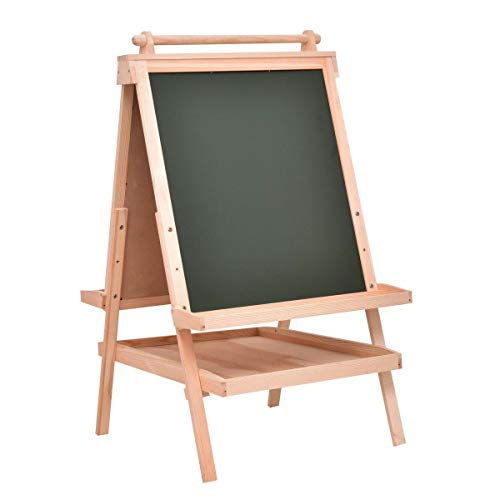 TimmyHouse Double Side Wooden Art Easel with Paper Roll All in One Kids Child Play Toy - Office Advantage Beech Small