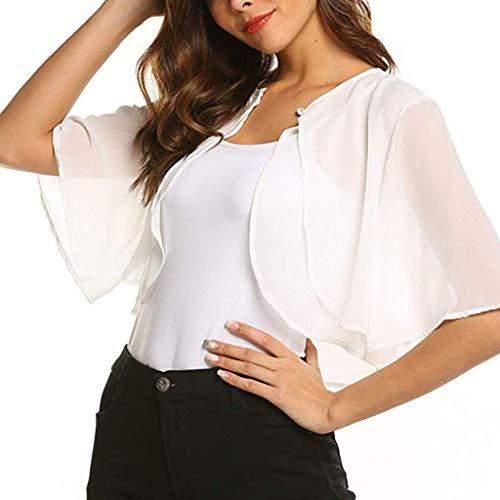 Witspace Women's Short Sleeve Sheer Open Front Chiffon Shrug Cardigan Top