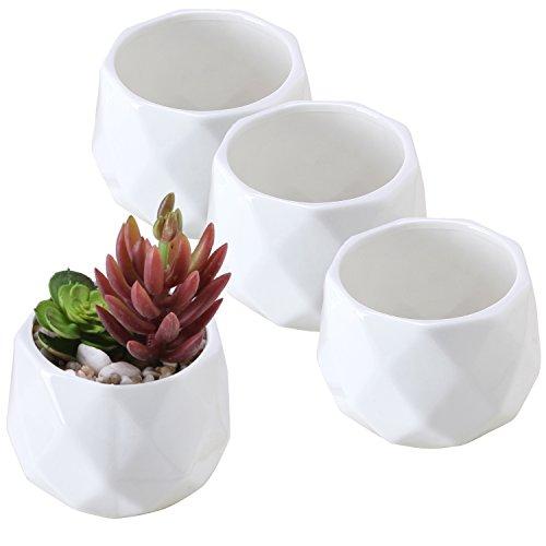 MyGift White Ceramic 3-Inch Geometric Mini Succulent Planters, Set of - White Ceramic 3 Inch