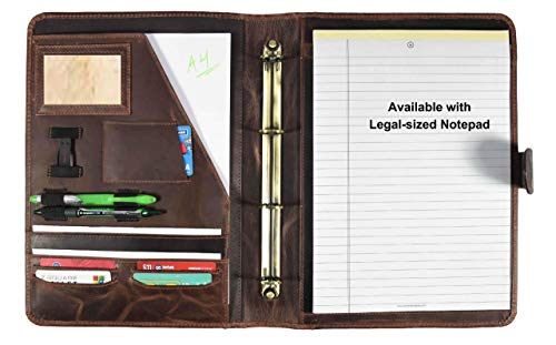(Leather Travel Portfolio | Professional Organizer Men & Women | Tablet Holder Leather Padfolio with Sleeves for documents and Ipad by Aaron Leather (Magnetic Closure, Chestnut))