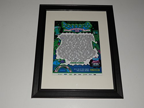 "Framed Bonnaroo 2014 Handbill Mini-Poster, 14"" by 17"" Kanye West, Jack White"