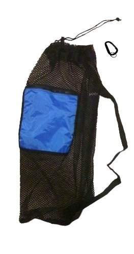 Mesh Drawstring Snorkel Bag with Blue Zip Pocket