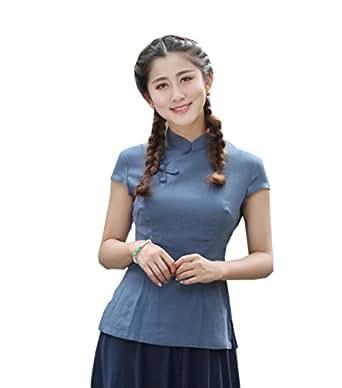 YueLian Mujeres Elegante Retro Manga Corta Color Sólido Talla 36-44 Traje Chino Blusa China Saco Top Azul (XXL)