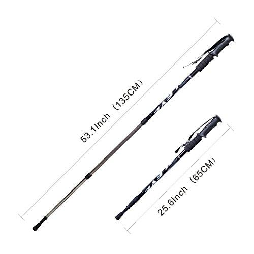 2 Pack(1 pair) - Fnado&Sports Collapsible Telescopic 53inch/ 135cm Adjustable Anti Shock Hiking / Walking / Trekking Trail Poles - Black