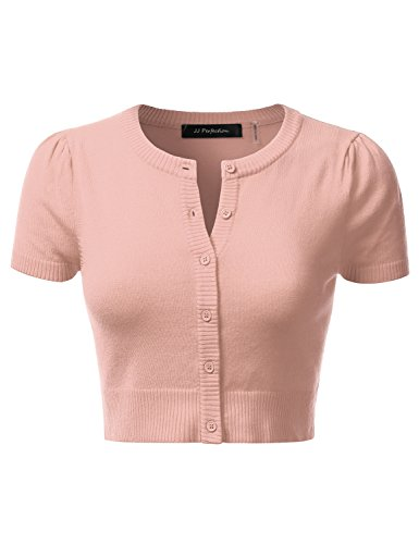 JJ Perfection Women's Round Neck Short Sleeve Button Down Bolero Cropped Cardigan PEACHBEIGE M