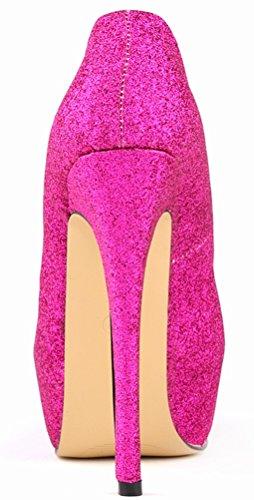 Salabobo Womens Sexy Fashion Night Club Platform Heighten High Heel Closed Toe Slip ON PU Pumps Rose bqpnL