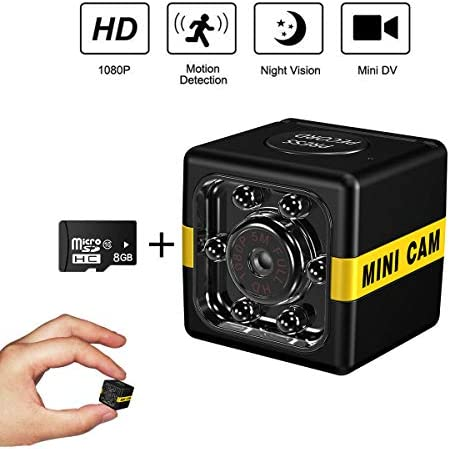 Cop Cam As Seen On TV Mini Spy Camera Wireless Hidden,1080P Surveillance Camera, Convert Security Nanny Cam with Night Vision Motion Activated for Home Car Office Indoor Outdoor 8GB TF Card