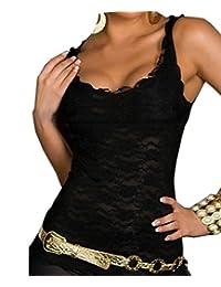 HYGD Women's Lace Floral Crochet Knit Vest Tank Top Club Shirt
