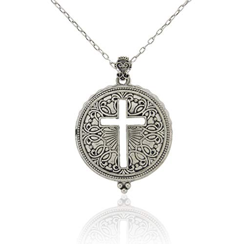 Ryssa Magnifying Glass Necklace Long Necklace with Reading Magnifying Glass Pendant for Difficulty Reading menus (Cross Scroll (Silver))