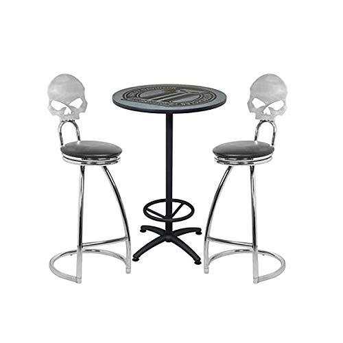 Harley-Davidson Dark Custom Cafe Table and Skull Bar Stools