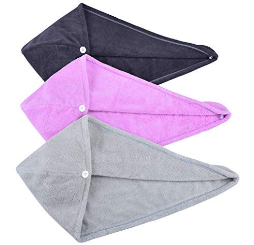 HOPESHINE Hair Drying Towel Twist Women's Soft Shower Microfiber Towels for Hair Turban Wrap Fast Drying Ultra Absorbent Cap Great Gift for Women (3-Pack Dark Grey+ Grey+Purple)