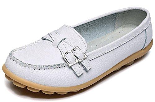 Summerwhisper Kvinna Tillfälliga Bucklig Remslirning-on Drivande Båt Skor Läder Loafers Vit
