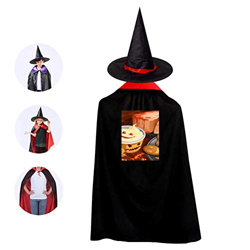 Kids Halloween Cloak with Witch Hat,Funny Halloween Desserts Wizard Cap Christmas Party Costume