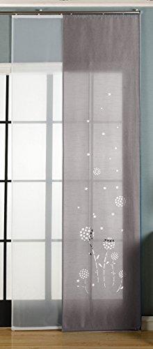 2er-Pack Schiebegardine Flächenvorhang, Zamora Grau , 245x60 cm (HxB) Lasercut Wildseide Optik Voile inkl. Paneelwagen und Beschwerungsstangen, 1656100