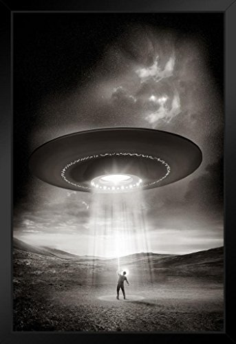 Out There Human Being Abducted by Aliens Space Saucer Photo Art Print Framed Poster 14x20 - Alien Pictures