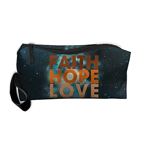Breast Cancer Faith Hope Love Portable Zipper Storage Bag Make-Up Pouch Beauty Cosmetic Bag Sewing Kit Medicine Bag by JYDPROV
